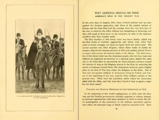1918 - Why Armenia Should be Free (Armenia's Role in the Present War) by Karekin Pastermadjian (aka: Armen Garo (1872-1923). A 70 year old Armenian Priest leading the volunteers to the battlefield. p14
