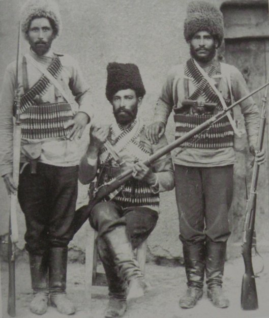 Kail Vahan with two of his comrades. In 1904 Vahan leads the group of bandits named 'Masis'. Entering the territory of the Ottoman Empire, he commands an assault on the Turkish guardpost located near the village of Mosun, during which he is killed.