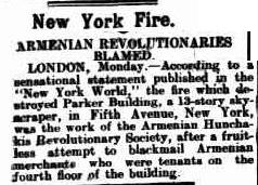 New York building burnt suspected by the Armenian Hunchak Revolutionary Society attempting to blackmail other Armenian tennants.