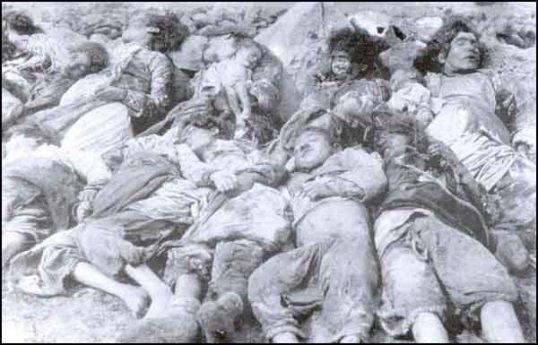25 April 1918 - Turkish village Subatan - Kars. Woman & children slaughtered by Armenian gangs.