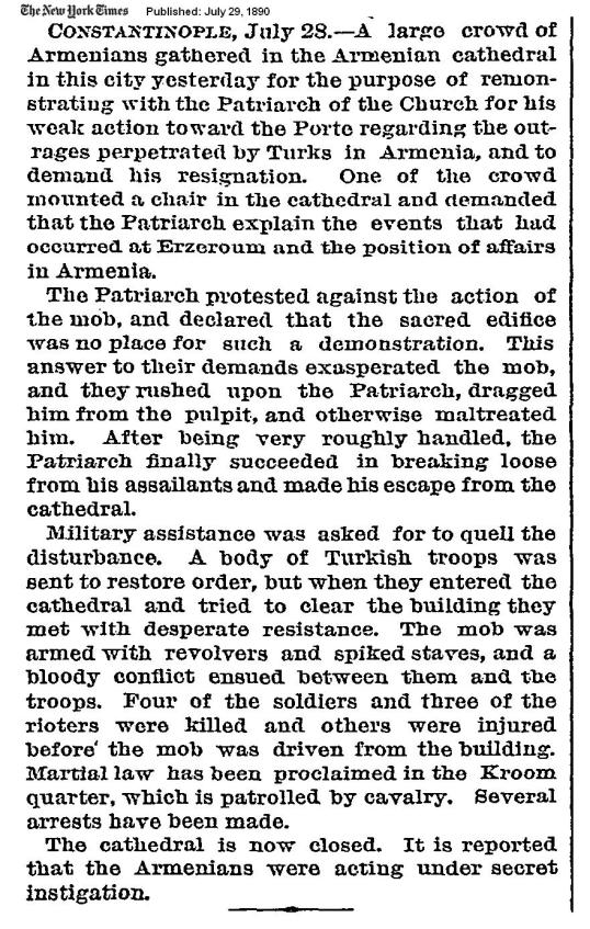 NYT 1890 - Armenian mob with revolvers starting riots & walking away...