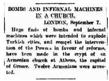 Armenian bomb making Church discovered in Athens Greece, intended to blow up Turkish cities. Morning Bulletin QLD, 9 Sep 1905, p.7