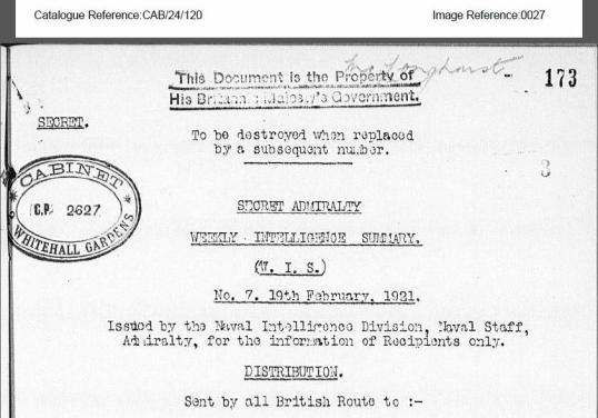 Secret British Intelligence Document, 19 Feb 1921.